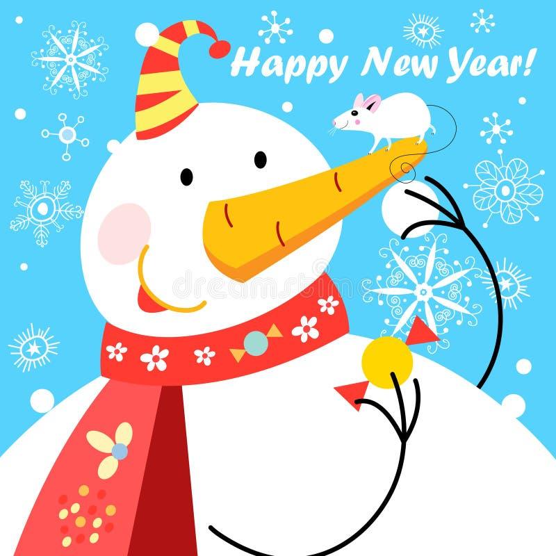 Εορταστική διανυσματική ευχετήρια κάρτα με έναν μεγάλο χιονάνθρωπο και ένα ποντίκι σε ένα μπλε υπόβαθρο απεικόνιση αποθεμάτων