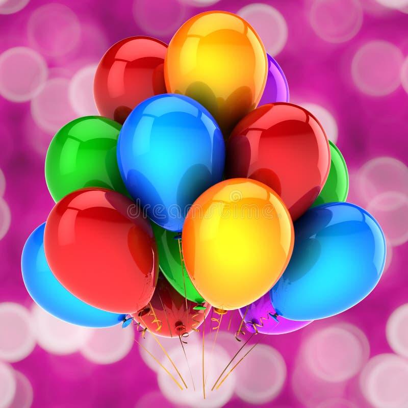 Εορταστική ευχετήρια κάρτα διακοσμήσεων κομμάτων μπαλονιών χρόνια πολλά απεικόνιση αποθεμάτων