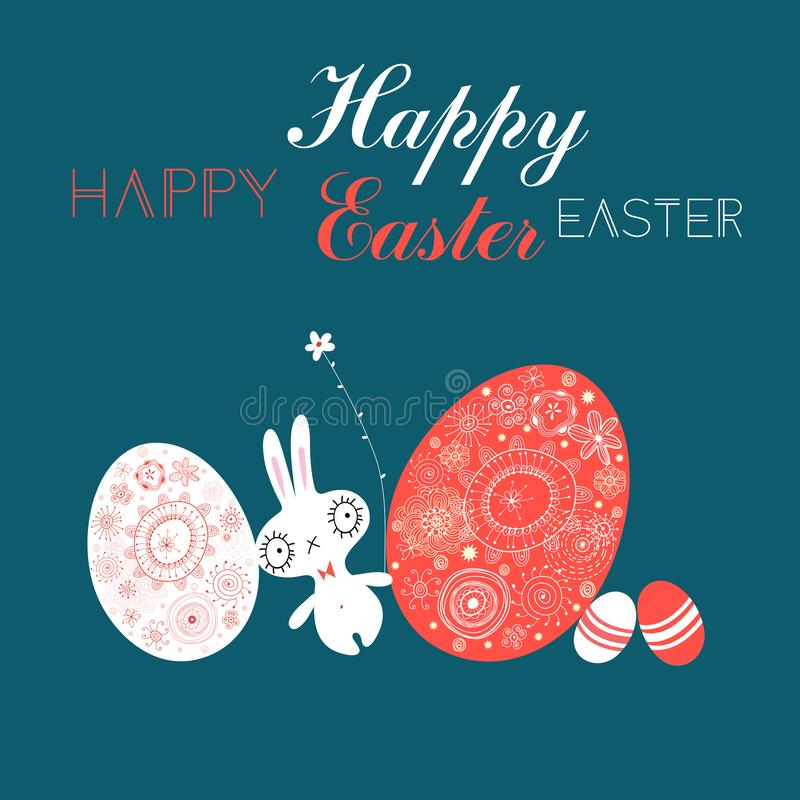 Εορταστική κάρτα Πάσχας με τα αυγά και ένα κουνέλι ελεύθερη απεικόνιση δικαιώματος
