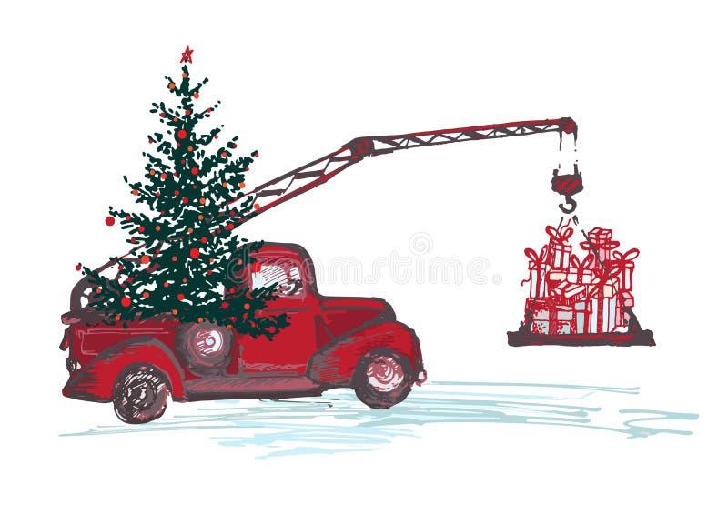Εορταστική νέα κάρτα έτους 2018 Ο κόκκινος γερανός φορτηγών με το δέντρο έλατου διακόσμησε τις κόκκινα σφαίρες και τα δώρα Χριστο ελεύθερη απεικόνιση δικαιώματος