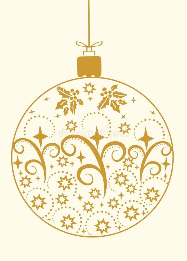 Εορταστική Χαρούμενα Χριστούγεννας διανυσματική απεικόνιση διακοσμήσεων σφαιρών χρυσή διανυσματική απεικόνιση