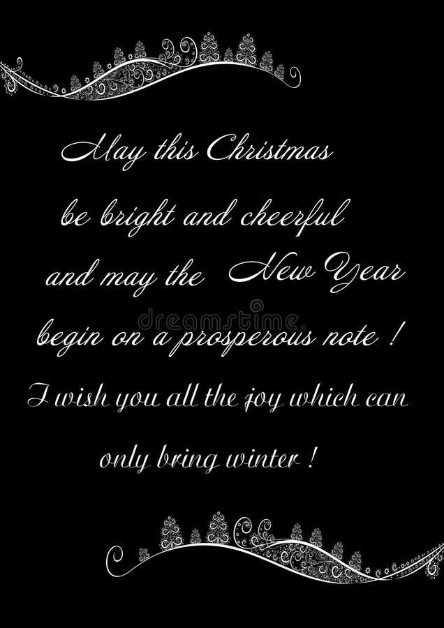 Εορταστική Χαρούμενα Χριστούγεννα χαιρετισμών σε ένα μαύρο υπόβαθρο με τη χειμερινή διακόσμηση διανυσματική απεικόνιση