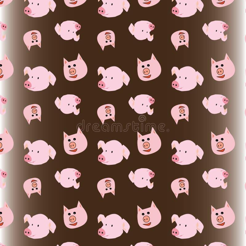 Εορταστικός χοίρος και αστείοι χοίροι για τη συσκευασία διανυσματική απεικόνιση