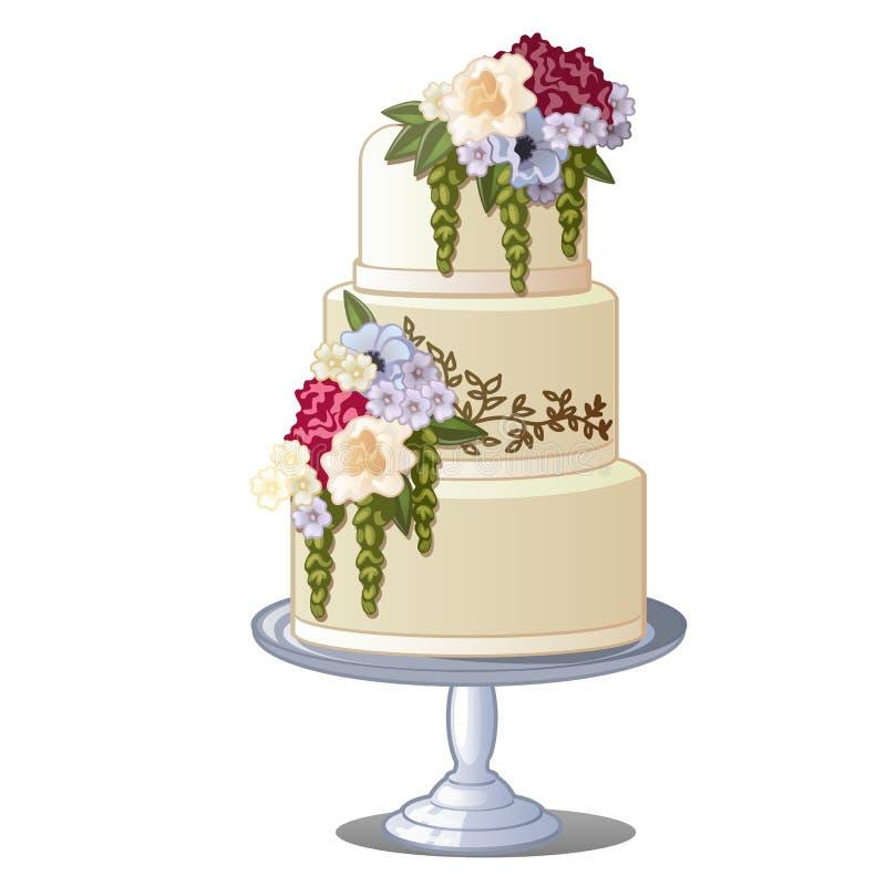 Εορταστικό βαλμένο σε στρώσεις κέικ μπισκότων που καλύπτεται με το πάγωμα και τα εδώδιμα λουλούδια Σκίτσο για τη ευχετήρια κάρτα, διανυσματική απεικόνιση