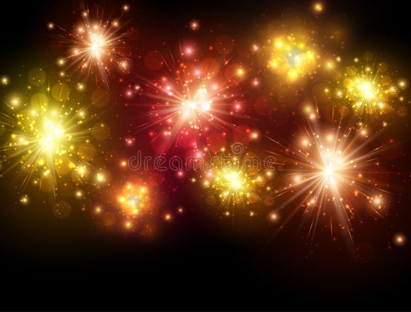 Εορταστικό ζωηρόχρωμο υπόβαθρο πυροτεχνημάτων ελεύθερη απεικόνιση δικαιώματος
