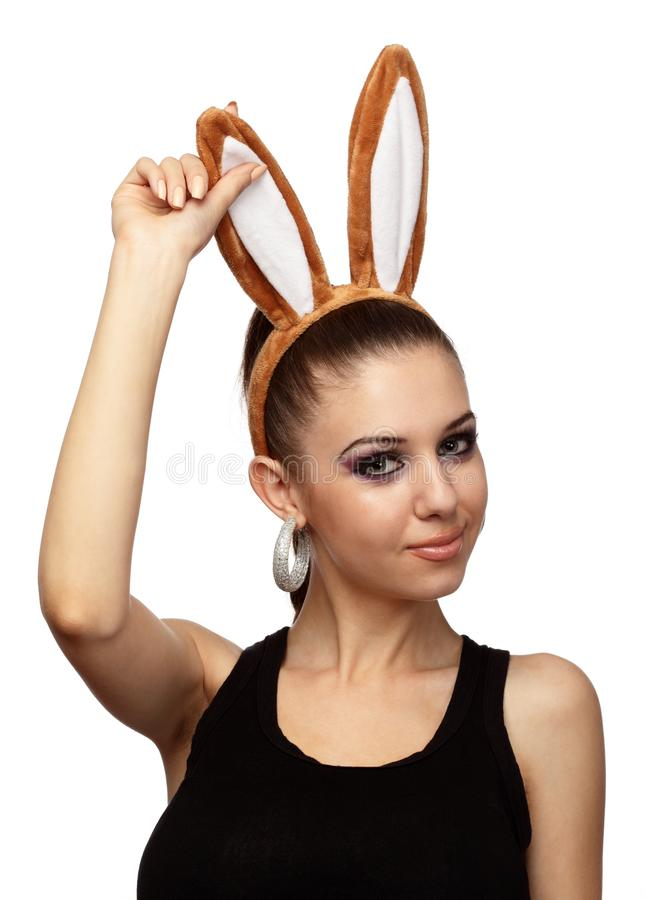 Εορταστικό κορίτσι με τα αυτιά λαγουδάκι που γιορτάζει τις διακοπές Πάσχας στοκ φωτογραφίες