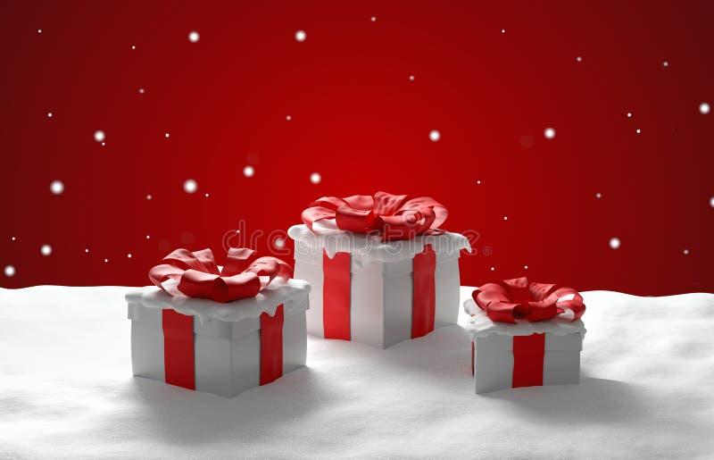 Εορταστικό κόκκινο άσπρο τρισδιάστατος-illustra χριστουγεννιάτικων δώρων δώρων Χριστουγέννων ελεύθερη απεικόνιση δικαιώματος