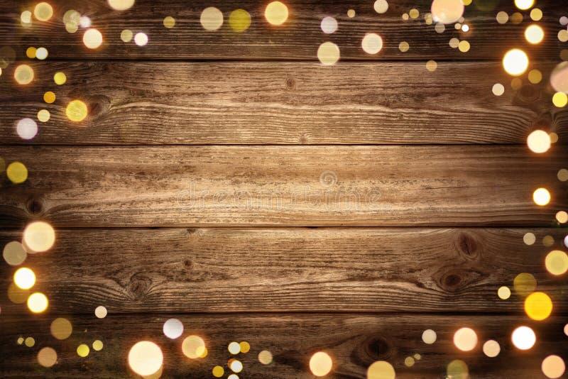 Εορταστικό ξύλινο υπόβαθρο με τα φω'τα στοκ φωτογραφία με δικαίωμα ελεύθερης χρήσης