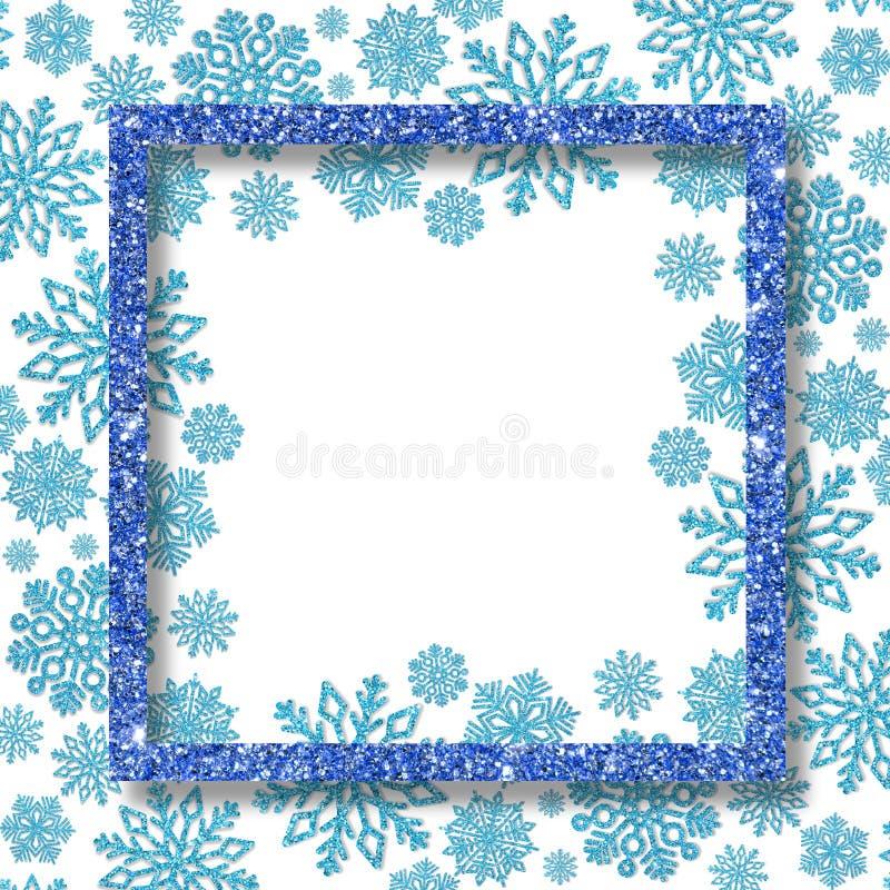 Εορταστικό πλαίσιο με μπλε snowflakes και ελεύθερου χώρου για το κείμενο Ευχετήρια κάρτα με τα επιχρυσωμένα τσέκια στοκ εικόνα με δικαίωμα ελεύθερης χρήσης