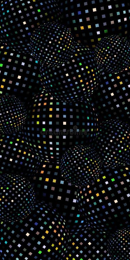 Εορταστικό σκοτεινό shimmer μωσαϊκών υπόβαθρο τρισδιάστατη αφηρημένη απεικόνιση σφαιρών Χρυσό τρεμούλιασμα στο μαύρο κάθετο έμβλη ελεύθερη απεικόνιση δικαιώματος