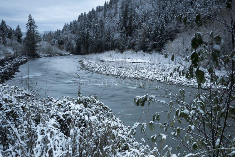 Εορταστικό τοπίο χειμερινού χιονιού κοιλάδων Fraser Pacific Northwest στοκ φωτογραφία