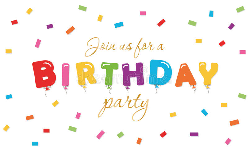 Εορταστικό υπόβαθρο γενεθλίων Έμβλημα πρόσκλησης κόμματος με χρωματισμένα τις μπαλόνι επιστολές και το κομφετί ελεύθερη απεικόνιση δικαιώματος