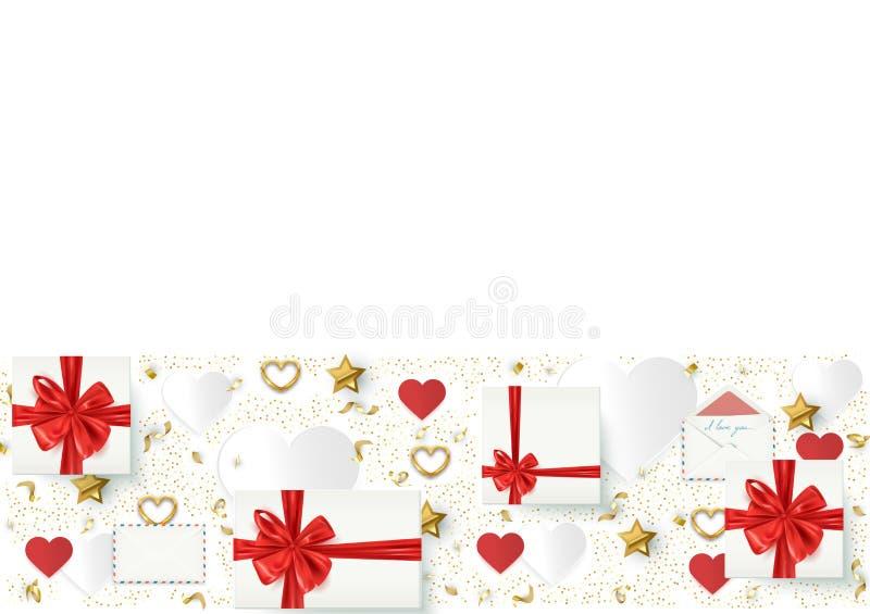 Εορταστικό υπόβαθρο διακοπών με τα κιβώτια δώρων και τα διακοσμητικά στοιχεία, γενέθλια, βαλεντίνος, κάρτα Χριστουγέννων, διανυσμ ελεύθερη απεικόνιση δικαιώματος