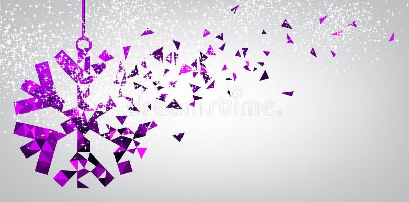 Εορταστικό υπόβαθρο με πορφυρό snowflake διανυσματική απεικόνιση