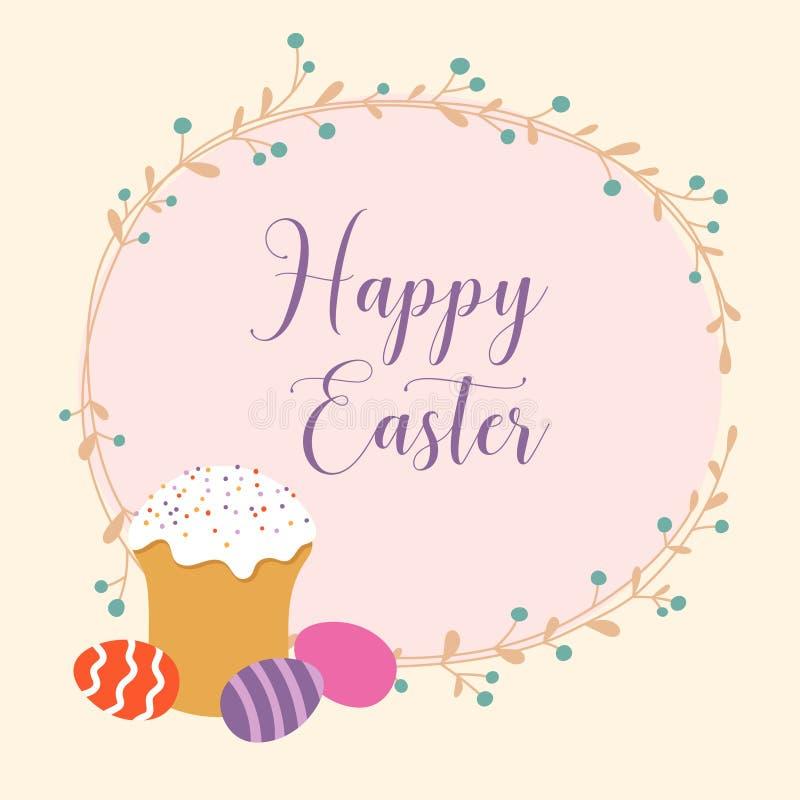 Εορταστικό υπόβαθρο με το κέικ Πάσχας, τα χρωματισμένα αυγά, το floral στεφάνι και την επιγραφή ευτυχές Πάσχα απεικόνιση αποθεμάτων