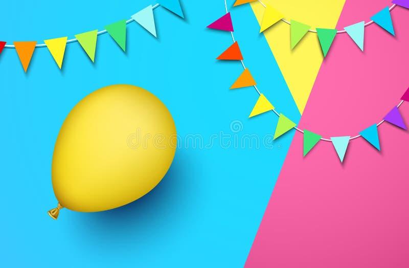 Εορταστικό υπόβαθρο με το κίτρινες μπαλόνι και τις σημαίες διανυσματική απεικόνιση