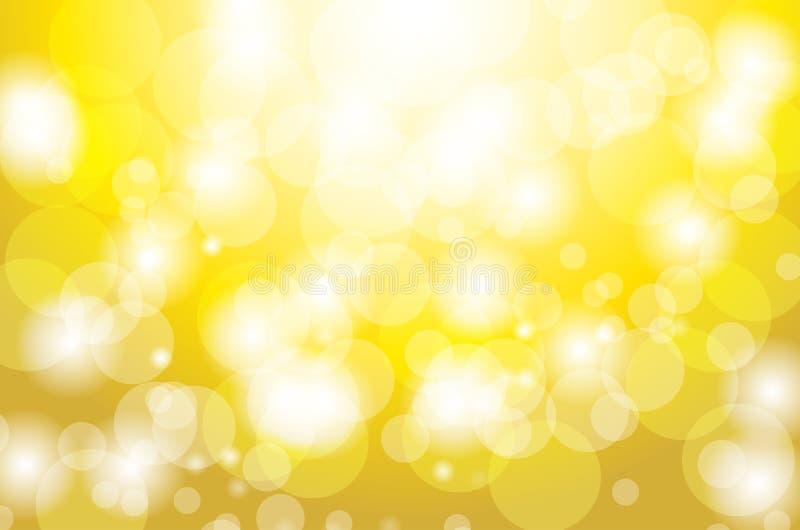 Εορταστικό χρυσό υπόβαθρο με τα φω'τα κύκλων bokeh στοκ εικόνα