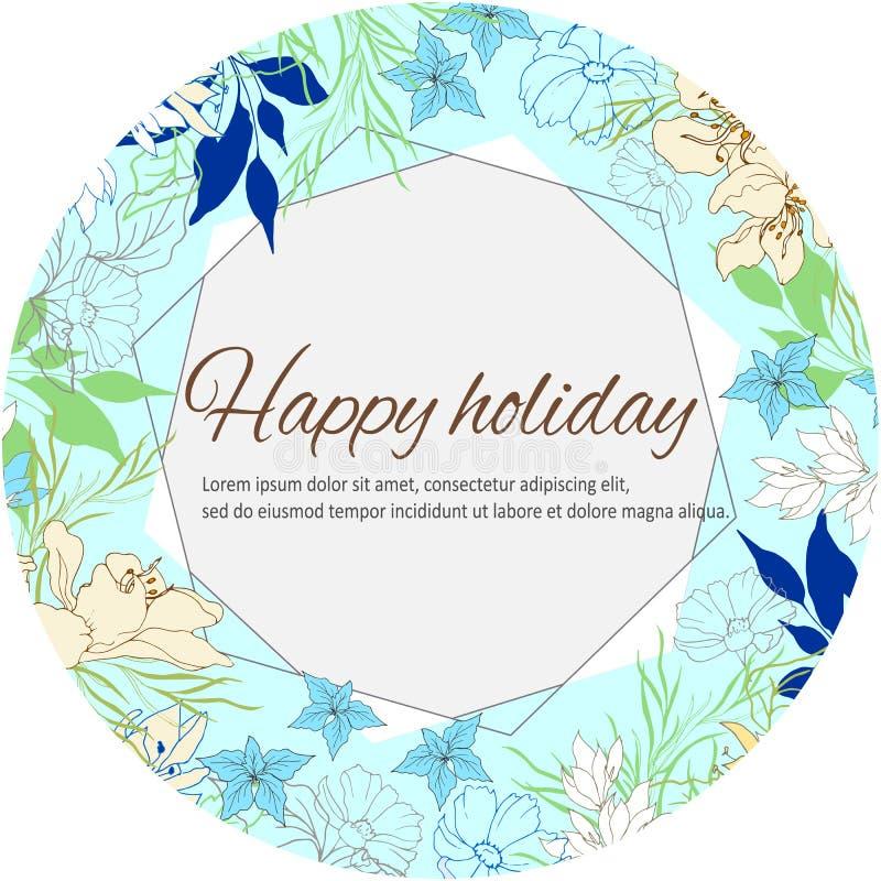 Εορταστικό floral πλαίσιο για τους χαιρετισμούς και τις γαμήλιες προσκλήσεις Κομψά χρωματισμένα πολύχρωμα λουλούδια Διανυσματική  ελεύθερη απεικόνιση δικαιώματος