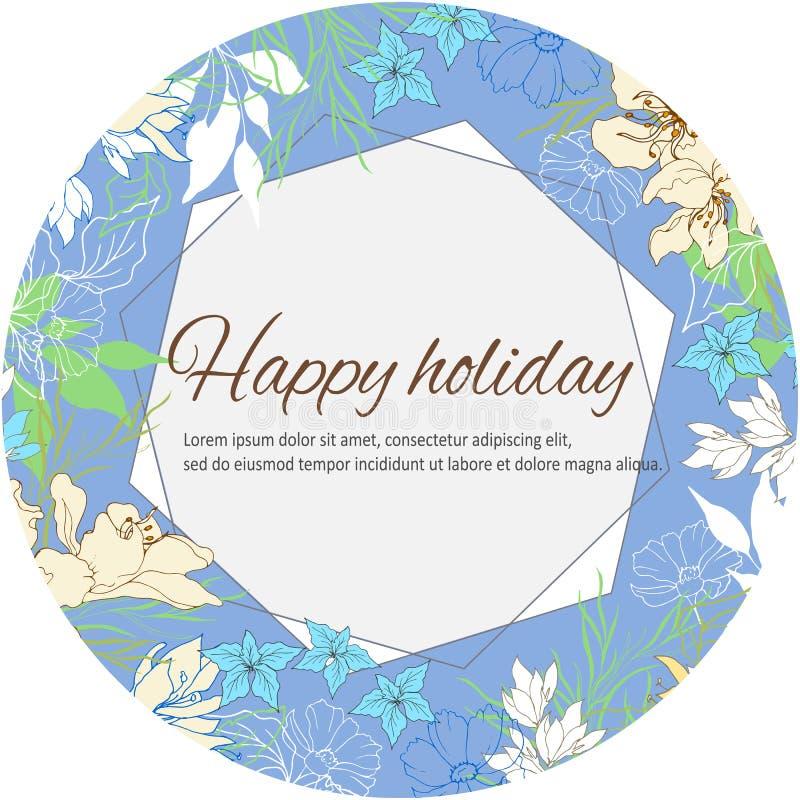 Εορταστικό floral πλαίσιο για τους χαιρετισμούς και τις γαμήλιες προσκλήσεις Κομψά χρωματισμένα πολύχρωμα λουλούδια Διανυσματική  διανυσματική απεικόνιση