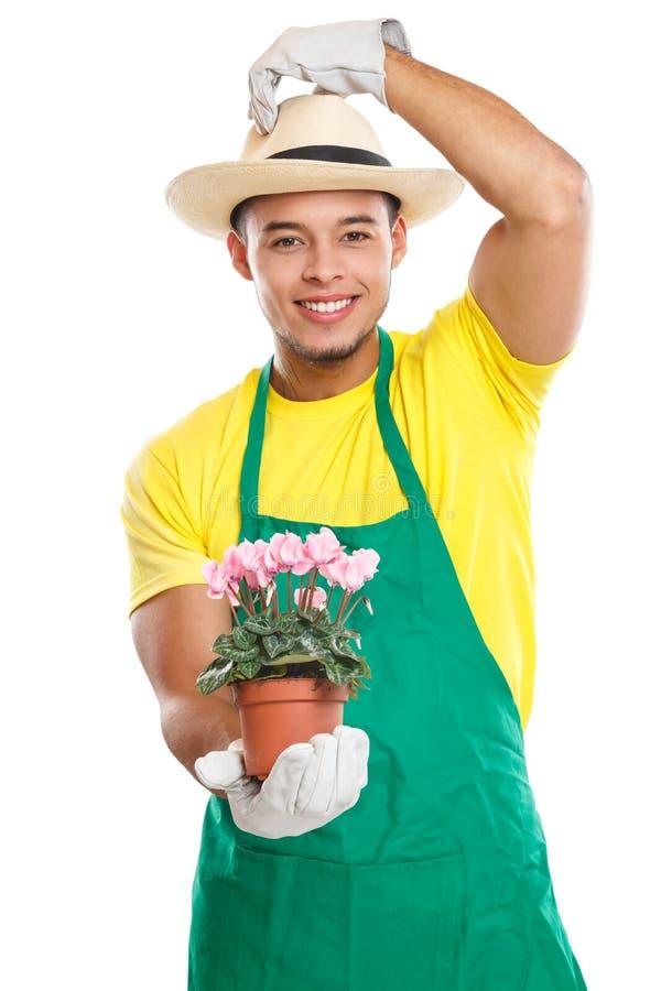 Επάγγελμα κήπων κηπουρικής λουλουδιών κηπουρών gardner που απομονώνεται στο λευκό στοκ εικόνες με δικαίωμα ελεύθερης χρήσης