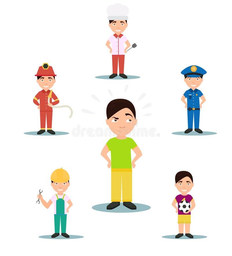Επάγγελμα για να επιλέξει τους χαρακτήρες Ένας αστυνομικός, αρχιμάγειρας, πυροσβέστης, ποδόσφαιρο διάνυσμα ελεύθερη απεικόνιση δικαιώματος