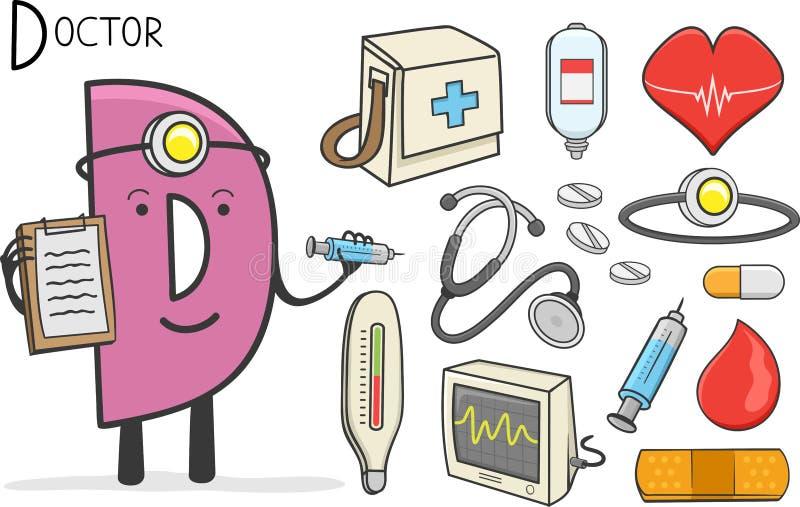 Επάγγελμα Alphabeth - γράμμα Δ - γιατρός απεικόνιση αποθεμάτων