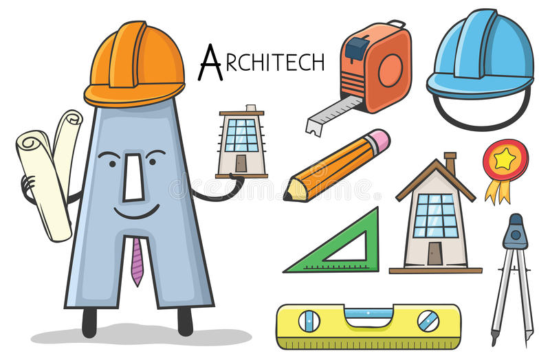 Επάγγελμα Alphabeth - γράψτε το Α - Architech διανυσματική απεικόνιση