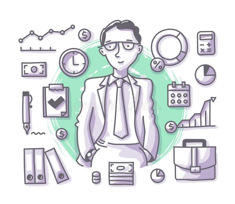 Επάγγελμα Doodle επιχειρηματιών ελεύθερη απεικόνιση δικαιώματος