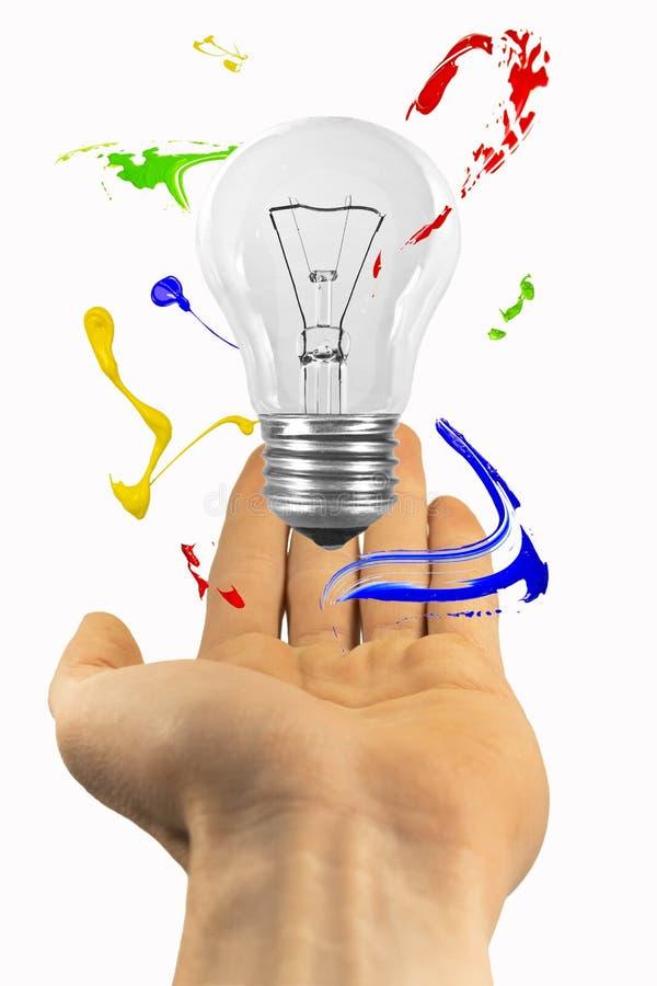 Επάνω από το χέρι αιωρηθείτε τη λάμπα φωτός με τον παφλασμό χρωμάτων διανυσματική απεικόνιση