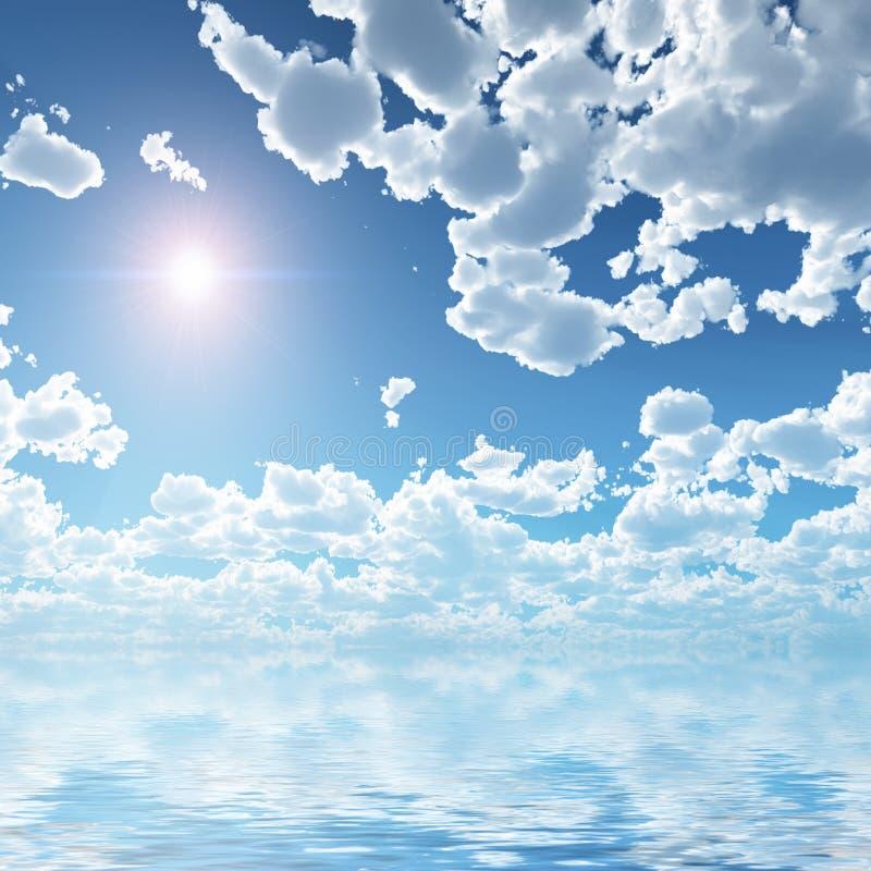 επάνω από το όμορφο ύδωρ σύνν&epsi ελεύθερη απεικόνιση δικαιώματος