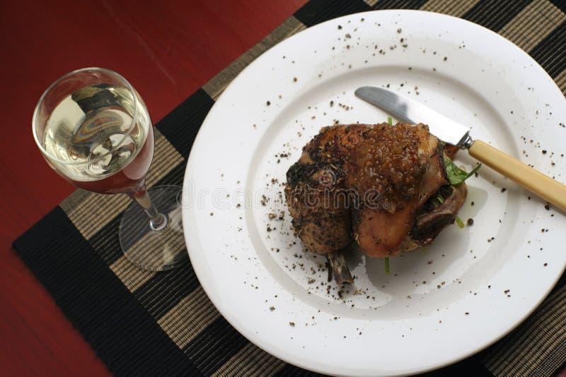 επάνω από ψαρευμένο roast γευμάτων κοτόπουλου στοκ εικόνες