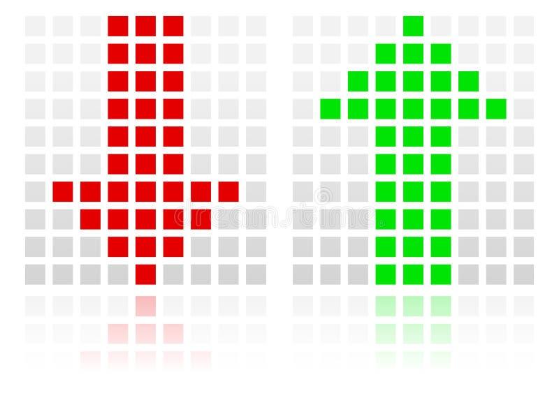 Επάνω στα κάτω εικονίδια βελών φιαγμένα από τετράγωνα ελεύθερη απεικόνιση δικαιώματος