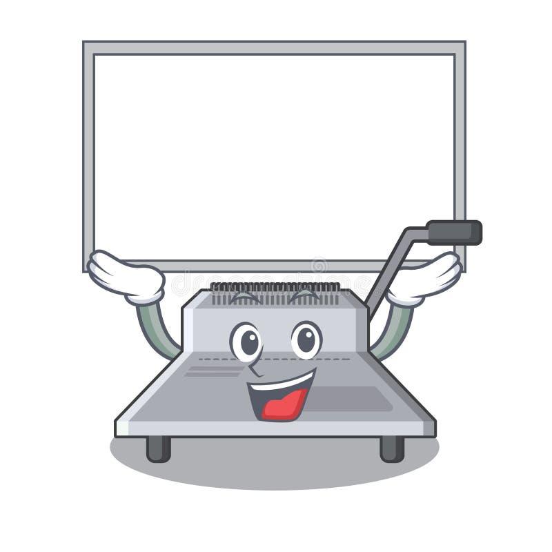 Επάνω στη δεσμευτική μηχανή πινάκων που απομονώνεται στη μασκότ ελεύθερη απεικόνιση δικαιώματος