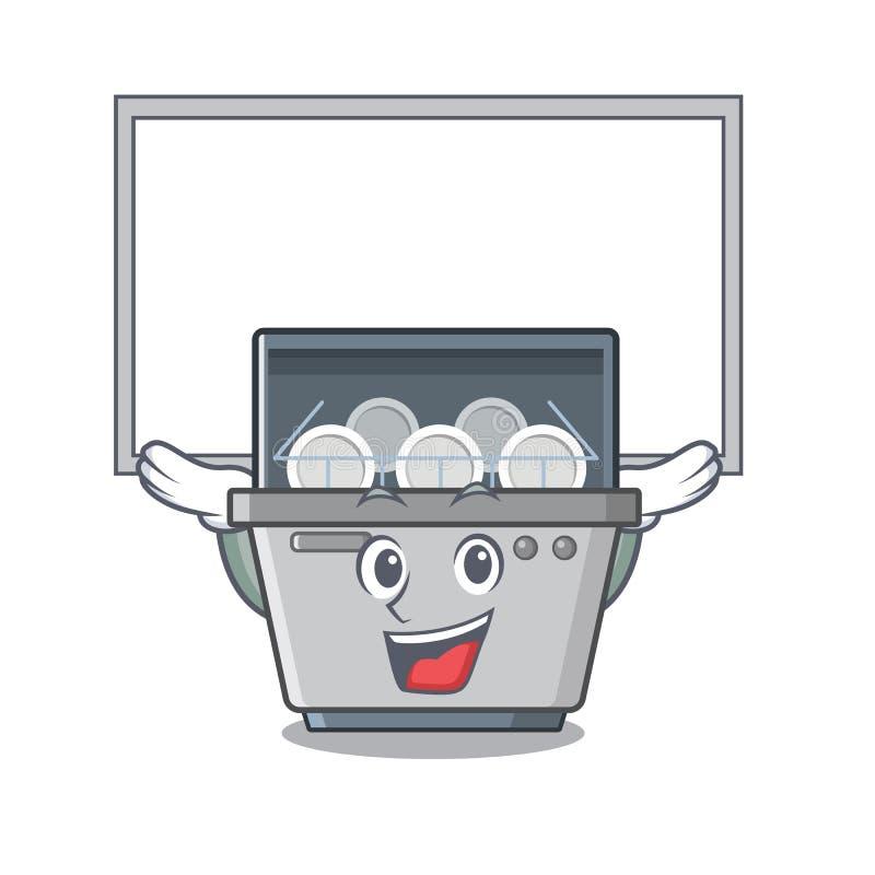 Επάνω στη μηχανή πλυντηρίων πιάτων μασκότ πινάκων στην κουζίνα απεικόνιση αποθεμάτων