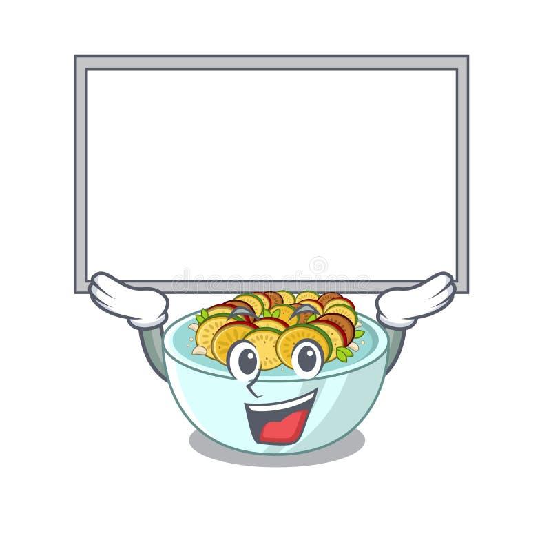 Επάνω στον πίνακα ratatouille είναι μαγειρευμένος στο τηγάνι μασκότ διανυσματική απεικόνιση
