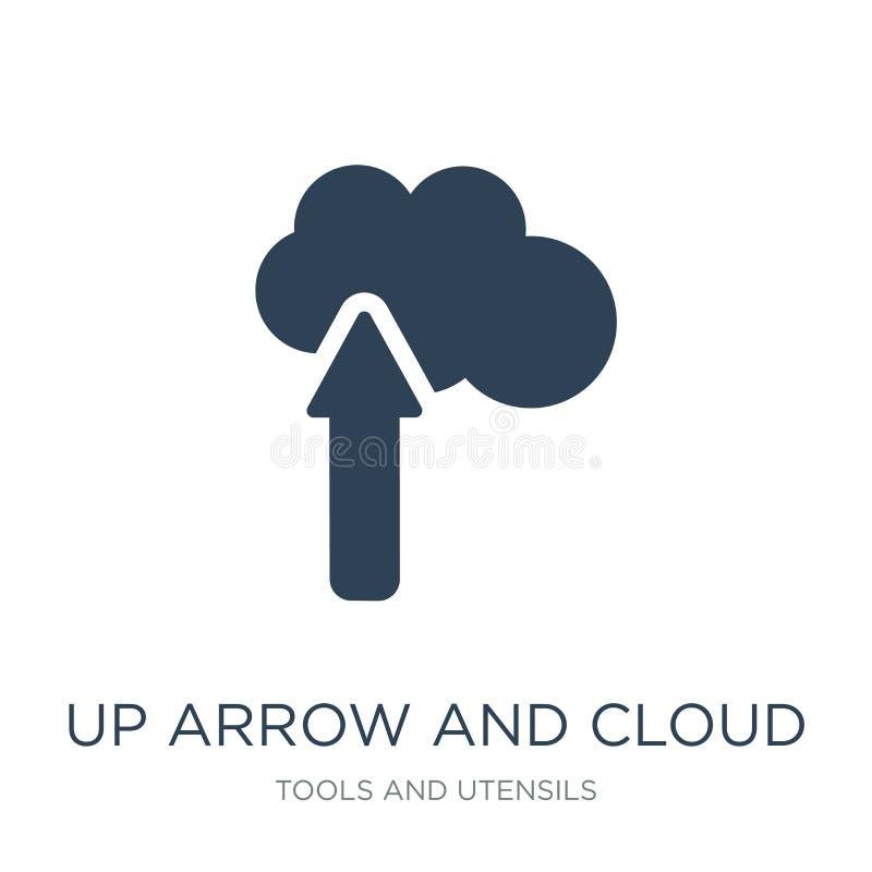 επάνω στο εικονίδιο βελών και σύννεφων στο καθιερώνον τη μόδα ύφος σχεδίου επάνω στο εικονίδιο βελών και σύννεφων που απομονώνετα απεικόνιση αποθεμάτων