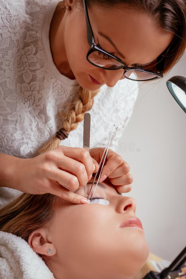 Επέκταση Eyelashes διαδικασίας στοκ εικόνες