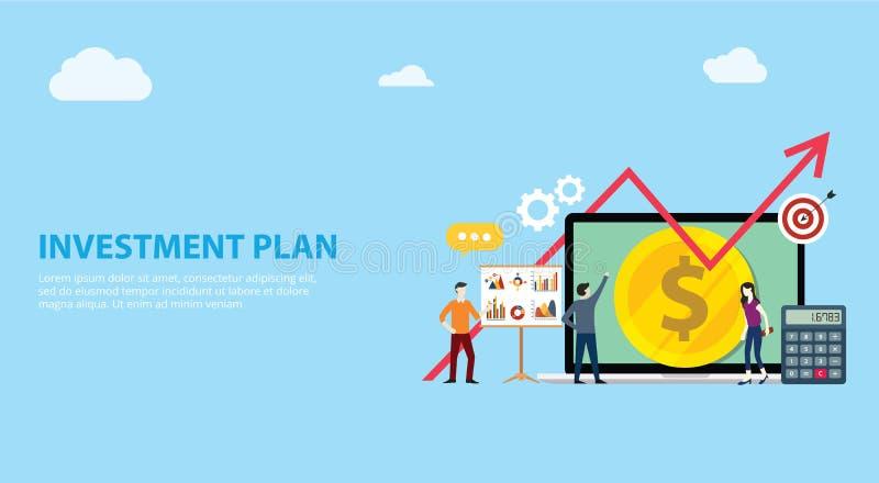 Επένδυση επιχειρηματικών σχεδίων με την ομάδα που απασχολείται μαζί στους ανθρώπους με τα χρήματα και που αυξάνεται το βέλος διαγ διανυσματική απεικόνιση