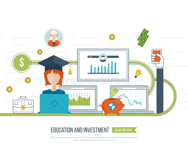Επένδυση στην εκπαίδευση Ανάπτυξη επιχείρησης ελεύθερη απεικόνιση δικαιώματος