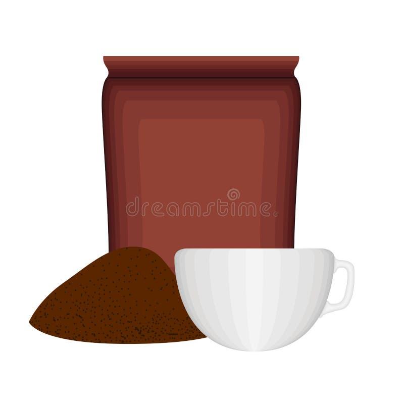 Επίγειος καφές σωρών με μια τσάντα και ένα φλυτζάνι απεικόνιση αποθεμάτων
