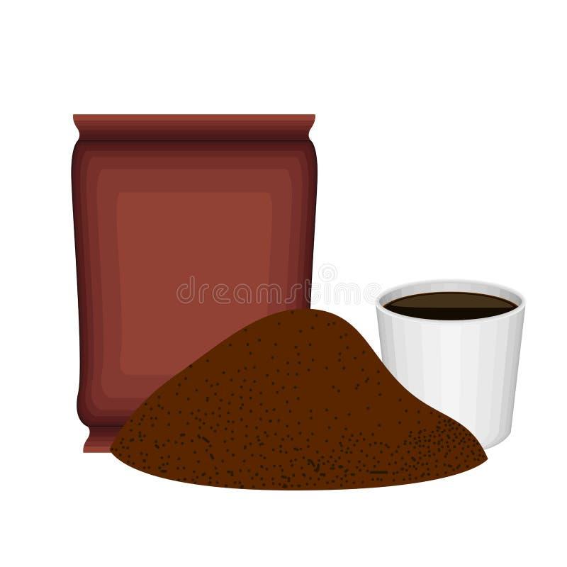 Επίγειος καφές σωρών με μια τσάντα και ένα φλυτζάνι ελεύθερη απεικόνιση δικαιώματος