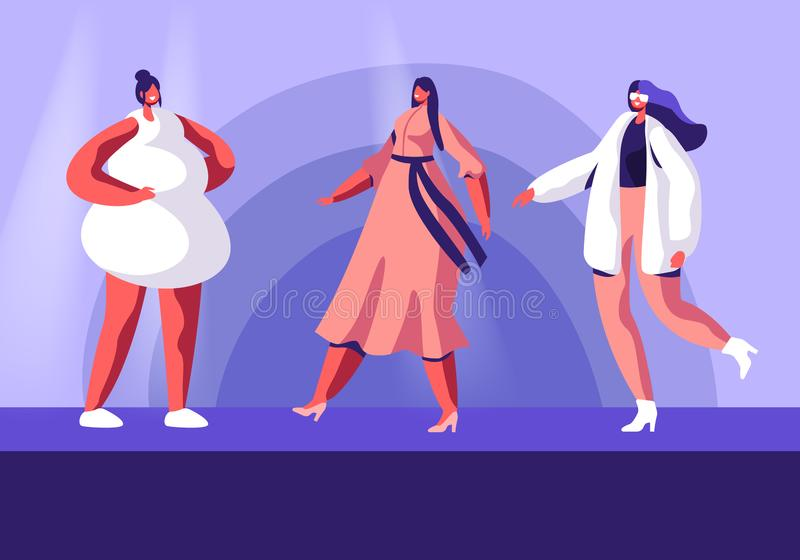 Επίδειξη μόδας με τα τοπ πρότυπα στο στενό διάδρομο Θηλυκοί χαρακτήρες που φορούν τον καθιερώνοντα τη μόδα διάδρομο συλλογής επίδ απεικόνιση αποθεμάτων