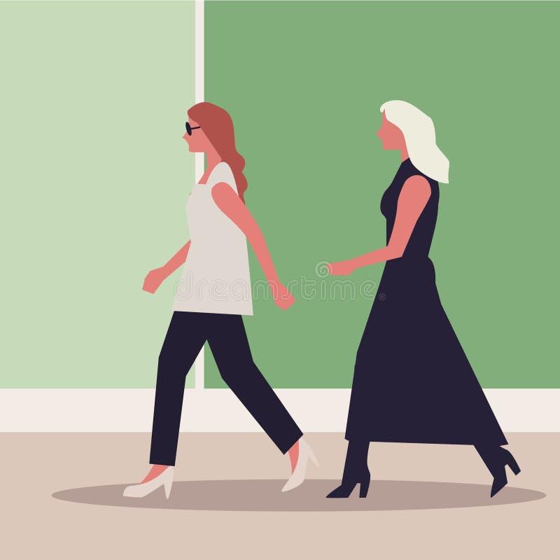 Επίδειξη μόδας με τα τοπ πρότυπα διανυσματική απεικόνιση