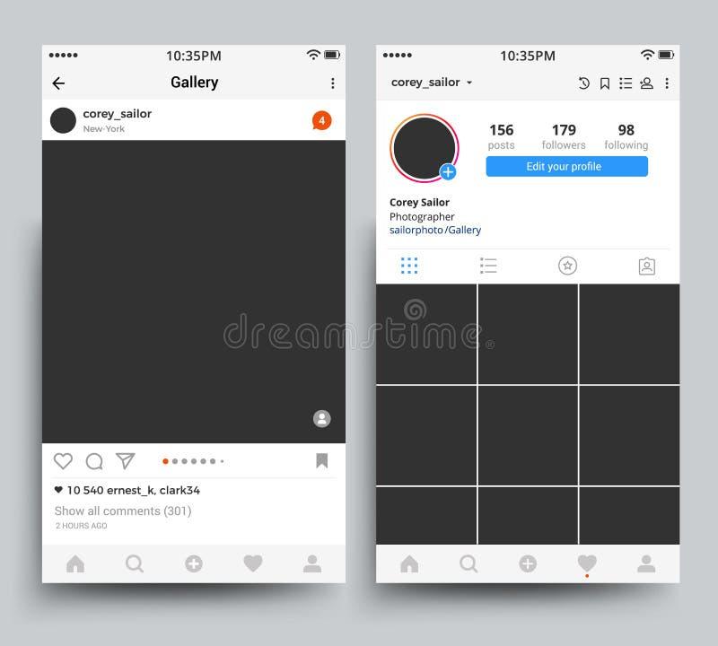 Επίδειξη πλαισίων φωτογραφιών Smartphone της κινητής εφαρμογής που εμπνέεται από το διανυσματικό πρότυπο instagram απεικόνιση αποθεμάτων