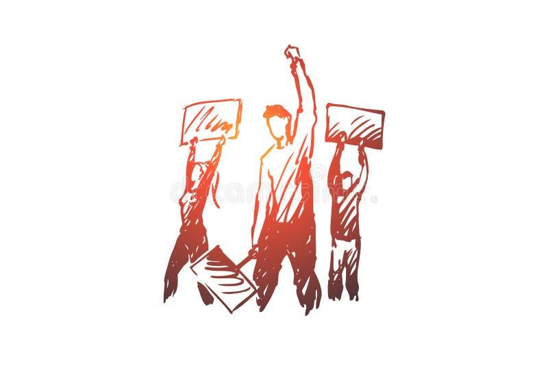 Επίδειξη, ταραχές, έννοια συναθροίσεων Συρμένη χέρι απομονωμένη σκίτσο απεικόνιση απεικόνιση αποθεμάτων