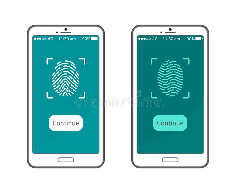 Επίδειξη Smartphone δακτυλικών αποτυπωμάτων, προσωπική ταυτότητα ελεύθερη απεικόνιση δικαιώματος