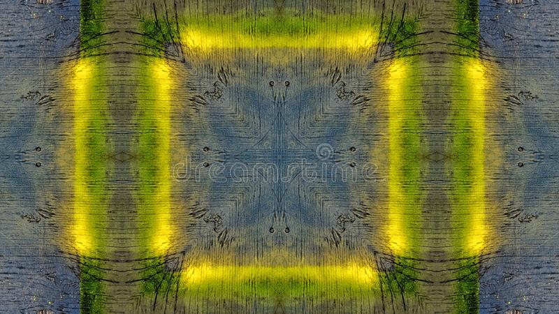 Επίδραση καθρεφτών σε έναν μπλε ξύλινο πίνακα με τις κίτρινες γραμμές ελεύθερη απεικόνιση δικαιώματος