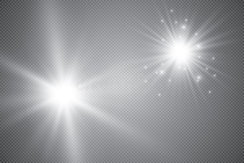 Επίδραση φω'των πυράκτωσης, φλόγα, έκρηξη και αστέρια Ειδικό εφέ που απομονώνεται στο διαφανές υπόβαθρο ελεύθερη απεικόνιση δικαιώματος