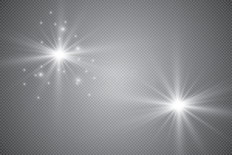 Επίδραση φω'των πυράκτωσης, φλόγα, έκρηξη και αστέρια Ειδικό εφέ που απομονώνεται στο διαφανές υπόβαθρο διανυσματική απεικόνιση