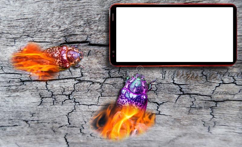 Επίθεση ζωύφιου υπολογιστών στο τηλέφωνο κυττάρων με την κενή άσπρη οθόνη στο ραγισμένο ξύλινο υπόβαθρο γραφείων στοκ εικόνες με δικαίωμα ελεύθερης χρήσης